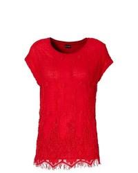 Camiseta con cuello circular de encaje roja