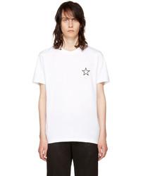 Camiseta con cuello circular de estrellas blanca