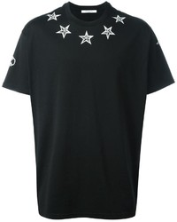 Camiseta con cuello circular de estrellas negra de Givenchy