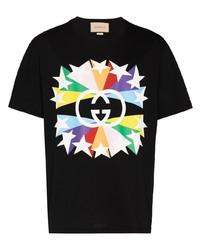 Camiseta con cuello circular de estrellas negra de Gucci