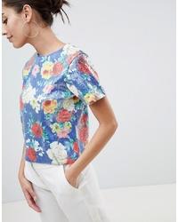 Camiseta con cuello circular de lentejuelas con print de flores en multicolor de ASOS DESIGN