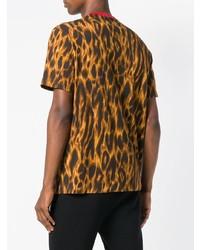 Camiseta con cuello circular de leopardo mostaza de Versace