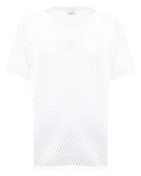 Camiseta con cuello circular de malla blanca de Burberry
