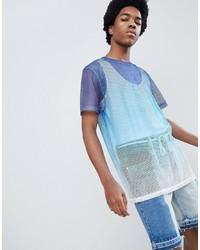 Camiseta con cuello circular de malla celeste de ASOS DESIGN