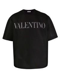 Camiseta con cuello circular de malla estampada en negro y blanco de Valentino