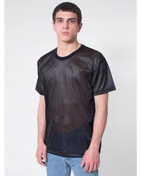 Camiseta con cuello circular de malla negra