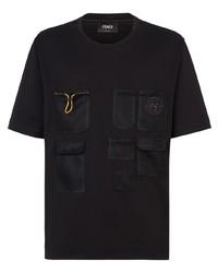 Camiseta con cuello circular de malla negra de Fendi