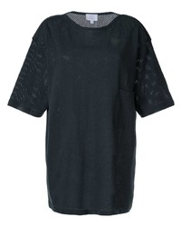 Camiseta con cuello circular de malla negra de Lemaire