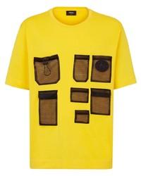 Camiseta con cuello circular de patchwork mostaza de Fendi