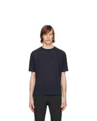 Camiseta con cuello circular de punto azul marino de Z Zegna