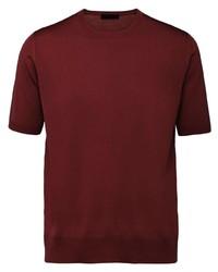 Camiseta con cuello circular de punto burdeos de Prada
