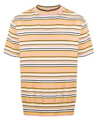 Camiseta con cuello circular de rayas horizontales amarilla de YMC