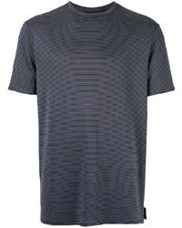Camiseta con cuello circular de rayas horizontales azul marino de Emporio Armani