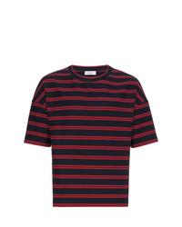 Camiseta con cuello circular de rayas horizontales azul marino de Jil Sander