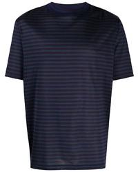 Camiseta con cuello circular de rayas horizontales azul marino de Lanvin