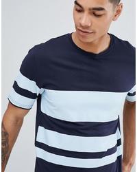 Camiseta con cuello circular de rayas horizontales azul marino de ONLY & SONS
