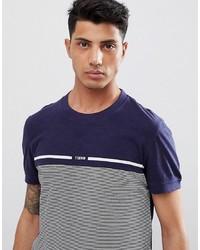 Camiseta con cuello circular de rayas horizontales azul marino de Tom Tailor