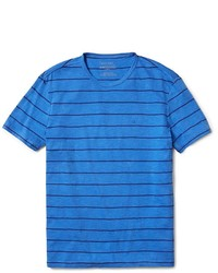 Camiseta con cuello circular de rayas horizontales azul