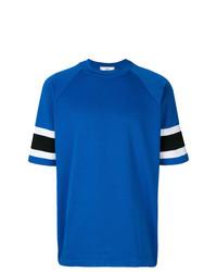 Camiseta con cuello circular de rayas horizontales azul de AMI Alexandre Mattiussi