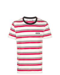 Camiseta con cuello circular de rayas horizontales blanca de AMI Alexandre Mattiussi
