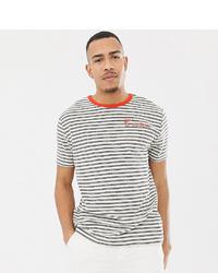 Camiseta con cuello circular de rayas horizontales blanca de ASOS DESIGN