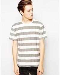 Camiseta con cuello circular de rayas horizontales blanca de Cheap Monday