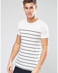 Camiseta con cuello circular de rayas horizontales blanca de Esprit