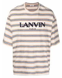 Camiseta con cuello circular de rayas horizontales blanca de Lanvin