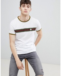 Camiseta con cuello circular de rayas horizontales blanca de Le Breve