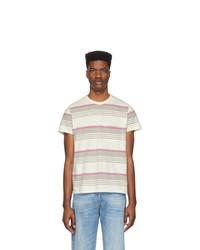 Camiseta con cuello circular de rayas horizontales blanca de Levis Vintage Clothing