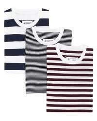 Camiseta con cuello circular de rayas horizontales blanca de Maison Margiela