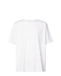 Camiseta con cuello circular de rayas horizontales blanca de Our Legacy