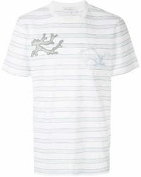 Camiseta con cuello circular de rayas horizontales blanca de Salvatore Ferragamo