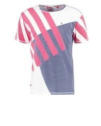 Camiseta con cuello circular de rayas horizontales blanca de Tommy Hilfiger
