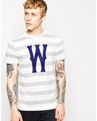 Camiseta con cuello circular de rayas horizontales blanca de Wesc
