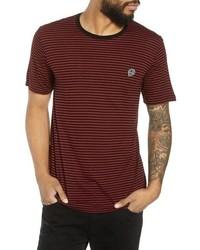 Camiseta con cuello circular de rayas horizontales burdeos