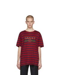 Camiseta con cuello circular de rayas horizontales burdeos de Gucci