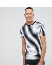Camiseta con cuello circular de rayas horizontales en blanco y azul marino de ASOS DESIGN