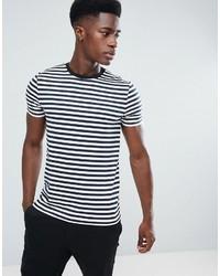 Camiseta con cuello circular de rayas horizontales en blanco y azul marino de Asos