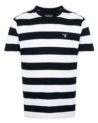 Camiseta con cuello circular de rayas horizontales en blanco y azul marino de Barbour