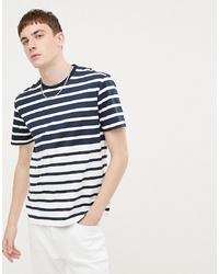 Camiseta con cuello circular de rayas horizontales en blanco y azul marino de Ben Sherman