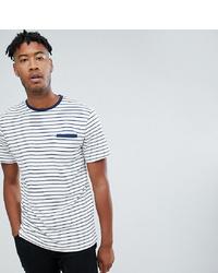 Camiseta con cuello circular de rayas horizontales en blanco y azul marino de Jacamo
