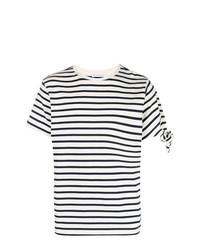 Camiseta con cuello circular de rayas horizontales en blanco y azul marino de JW Anderson