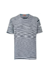 Camiseta con cuello circular de rayas horizontales en blanco y azul marino de Missoni