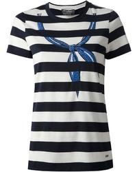 Camiseta con cuello circular de rayas horizontales en blanco y azul marino de Salvatore Ferragamo