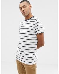 Camiseta con cuello circular de rayas horizontales en blanco y azul marino de Selected Homme