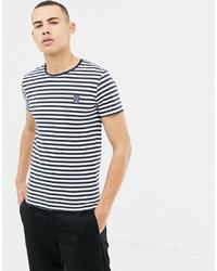 Camiseta con cuello circular de rayas horizontales en blanco y azul marino de Solid