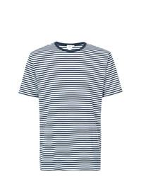 Camiseta con cuello circular de rayas horizontales en blanco y azul marino de Sunspel