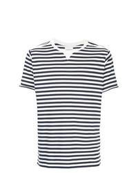 Camiseta con cuello circular de rayas horizontales en blanco y azul marino de Takahiromiyashita The Soloist