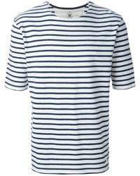 Camiseta con cuello circular de rayas horizontales en blanco y azul marino de Wood Wood